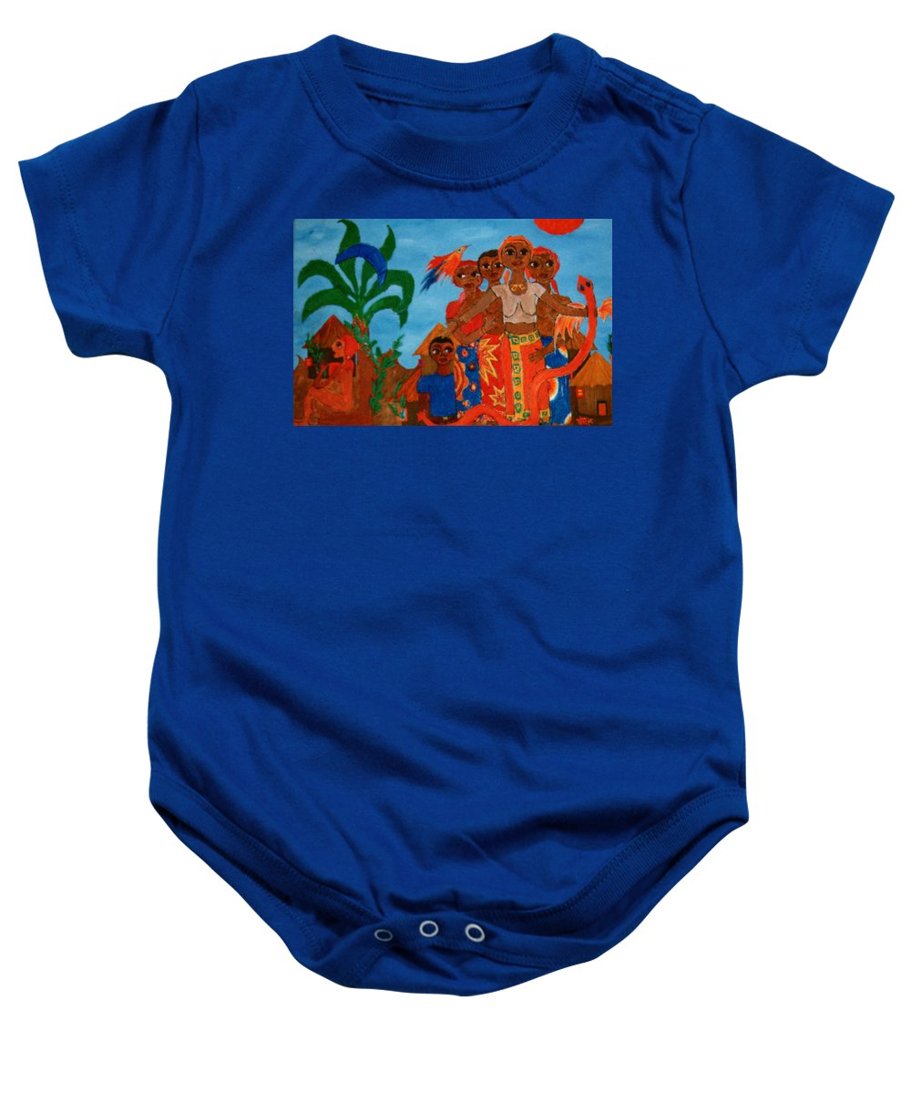 Study Baby Onesie featuring the painting Study To Motherland A Place Of Exile by Madalena Lobao-Tello