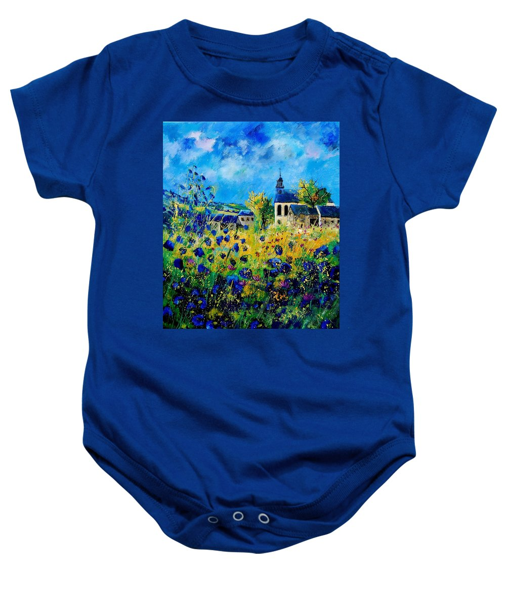 Poppies Baby Onesie featuring the painting Summer In Foy Notre Dame by Pol Ledent