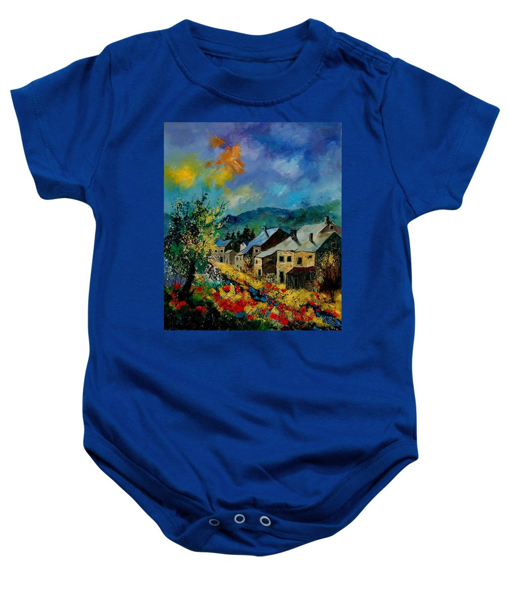 Poppies Baby Onesie featuring the painting Summer In Mogimont by Pol Ledent
