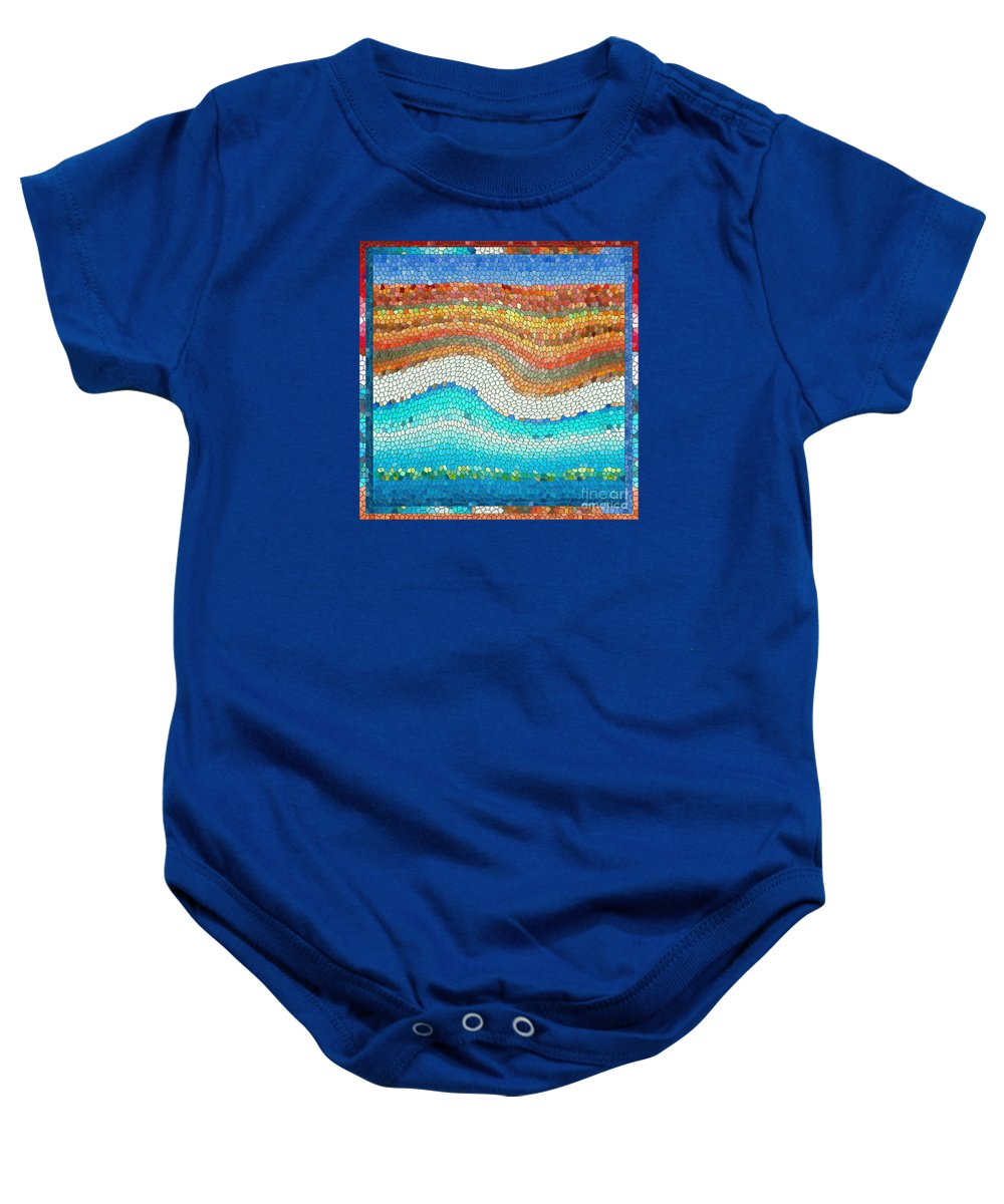 Colorful Baby Onesie featuring the digital art Summer Mosaic by Melissa A Benson