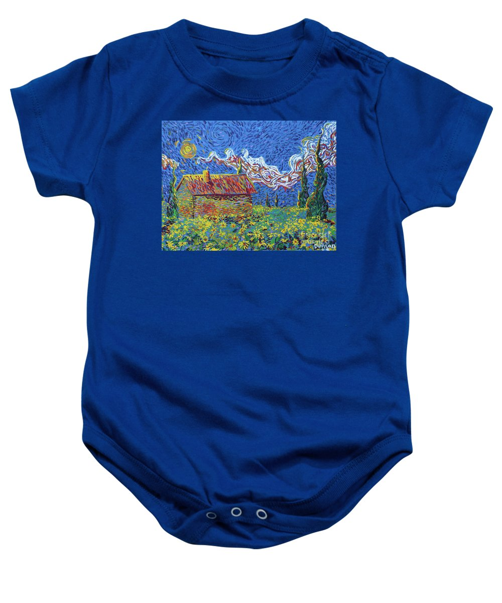 Landscape Baby Onesie featuring the painting Sunflower House by Stefan Duncan