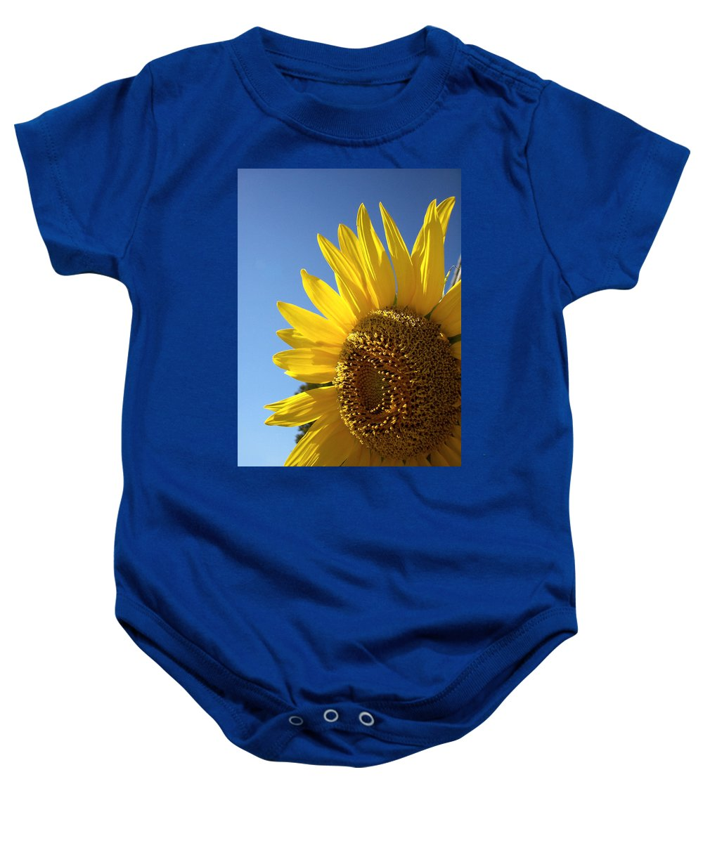 Sunflower Baby Onesie featuring the photograph Sunny Skies by Donna Blackhall