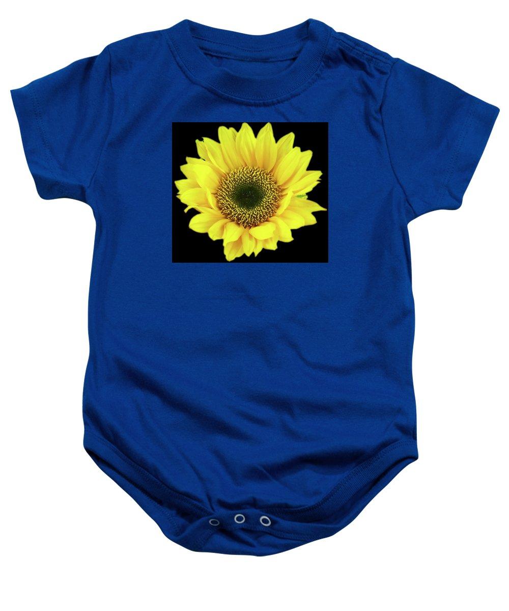 Sunflower Baby Onesie featuring the photograph Sunny Sunflower Black Yellow by Brigite Inevil