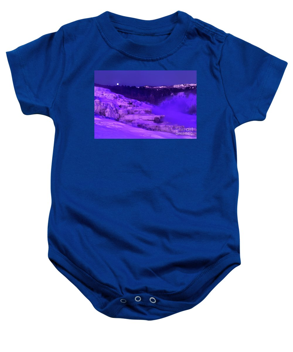 North America Baby Onesie featuring the photograph Sunrise And Moonset Over Minerva Springs Yellowstone National Park by Dave Welling