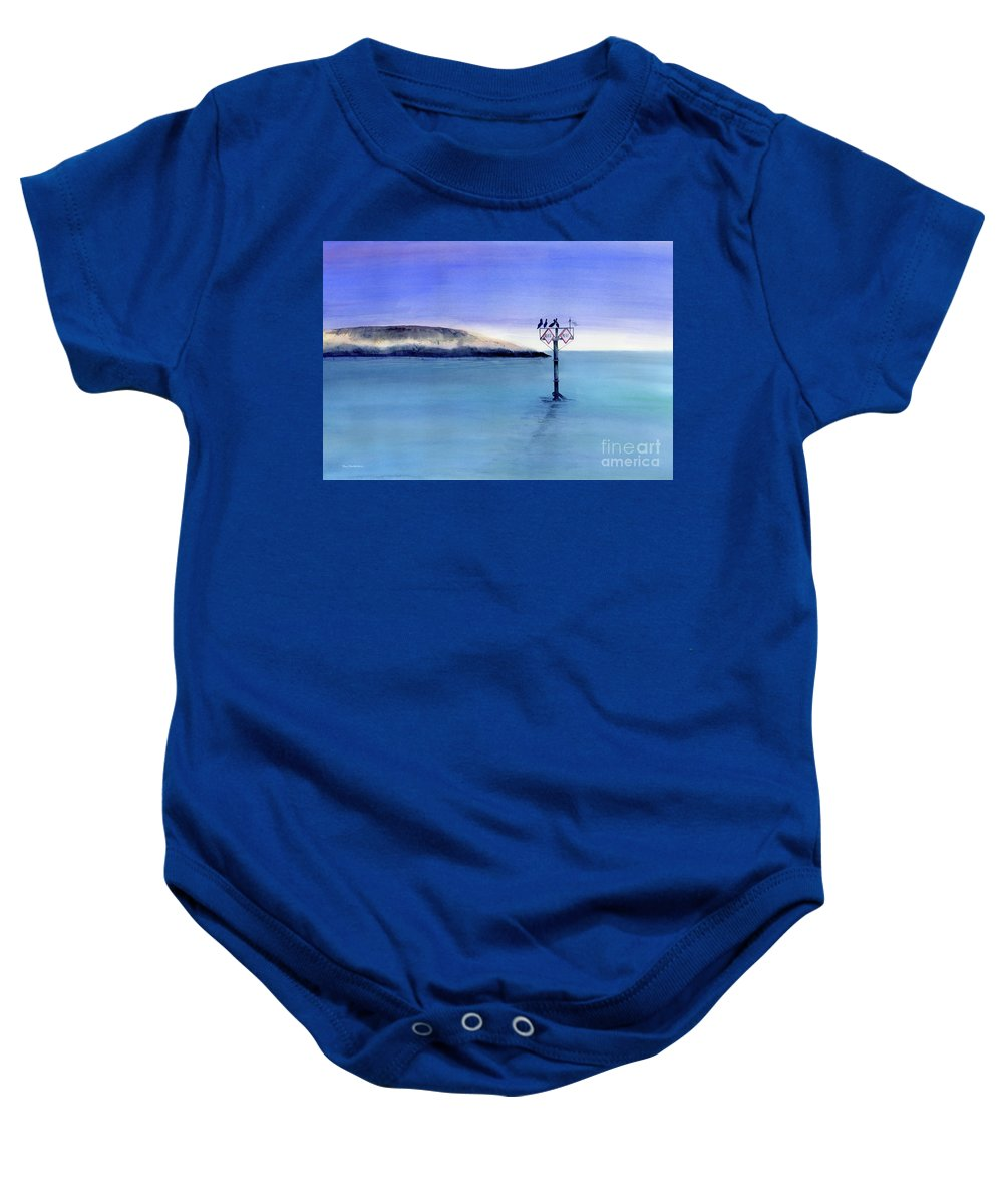 Pelican Baby Onesie featuring the painting Sunrise Watchers by Amy Kirkpatrick