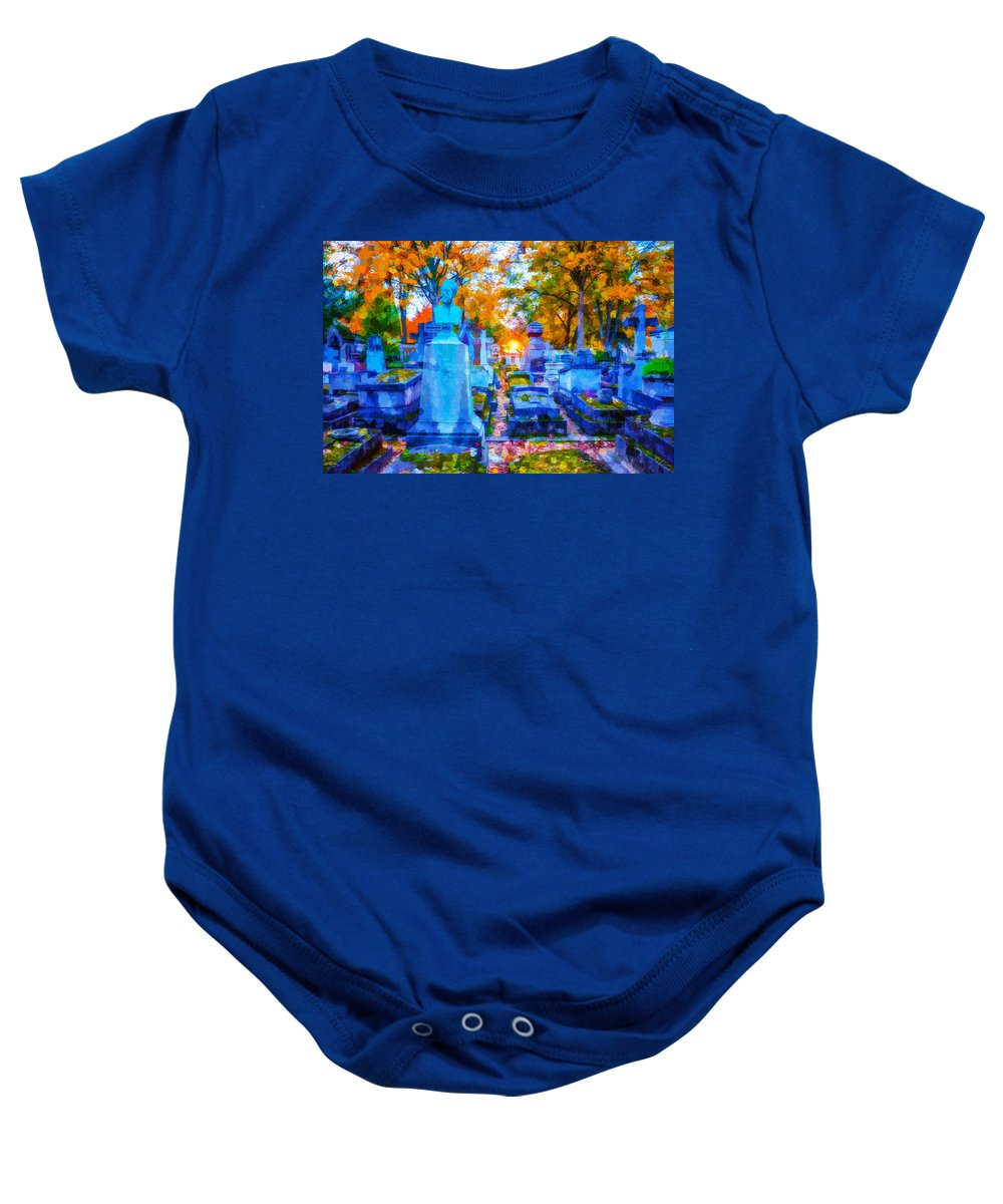 Sunset Baby Onesie featuring the photograph Sunset In Pere Lachaise Abstraction by Ursa Davis