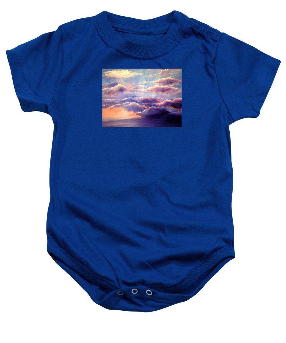Sunset Baby Onesie featuring the painting Sunset by Melissa Joyfully