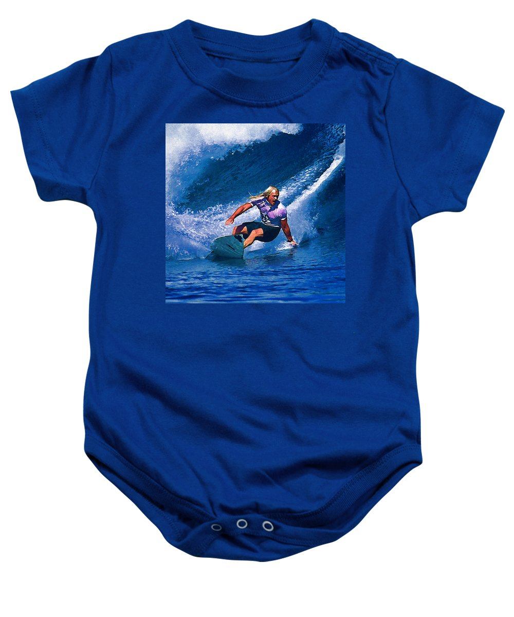 Surfer Baby Onesie featuring the painting Surfer Dude Catching A Wave by Elaine Plesser
