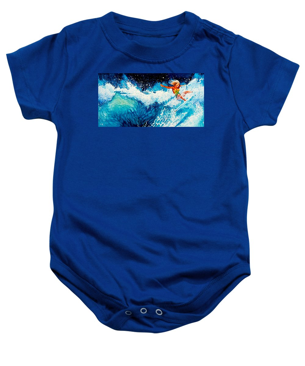 Sports Art Baby Onesie featuring the painting Surfer Girl by Hanne Lore Koehler