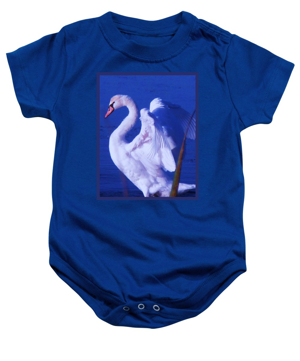 Cape Baby Onesie featuring the painting Swan At Cape May Point State Park by Eric Schiabor