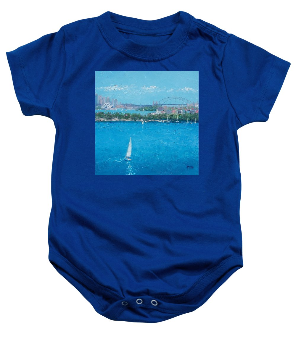 Sydney Harbour Baby Onesie featuring the painting Sydney Harbour And The Opera House Vacation by Jan Matson