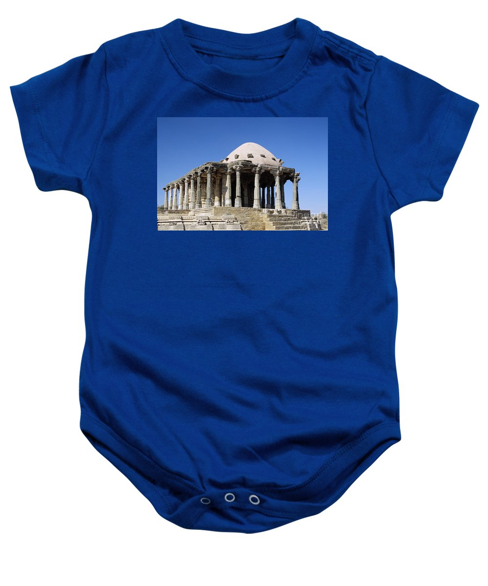 Ancient Baby Onesie featuring the photograph Temple At Fort Kumbhalgarh by Gloria and Richard Maschmeyer - Printscapes