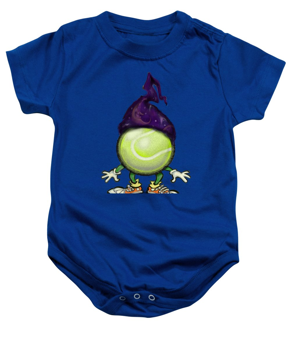 Tennis Baby Onesie featuring the digital art Tennis Wiz by Kevin Middleton