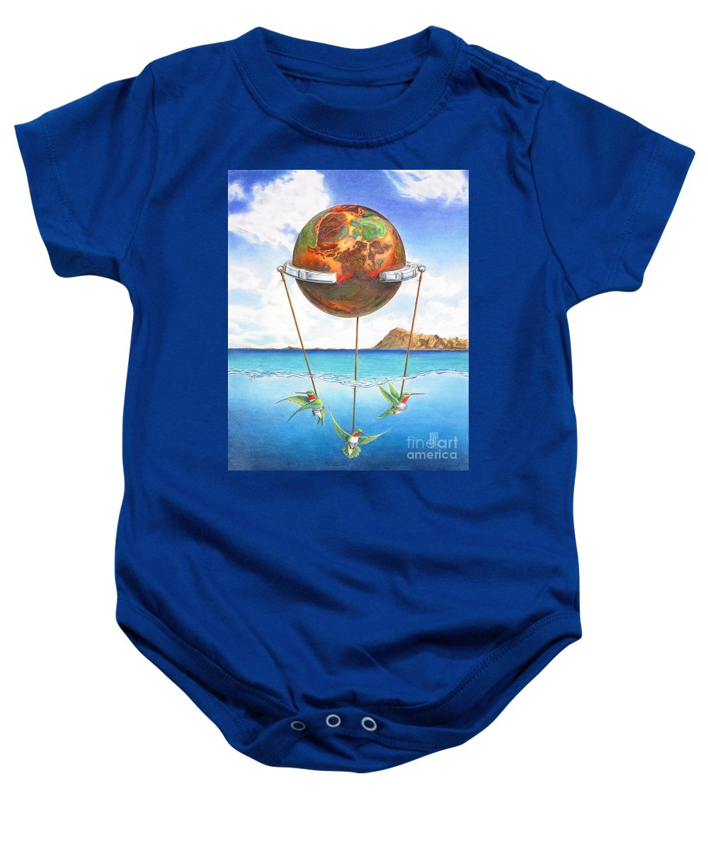 Surreal Baby Onesie featuring the painting Tethered Sphere by Melissa A Benson