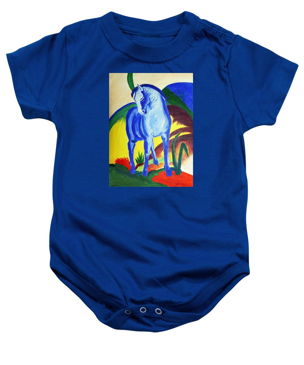 Horse Baby Onesie featuring the painting The Blue Horse Franc Marz by Asha Sudhaker Shenoy