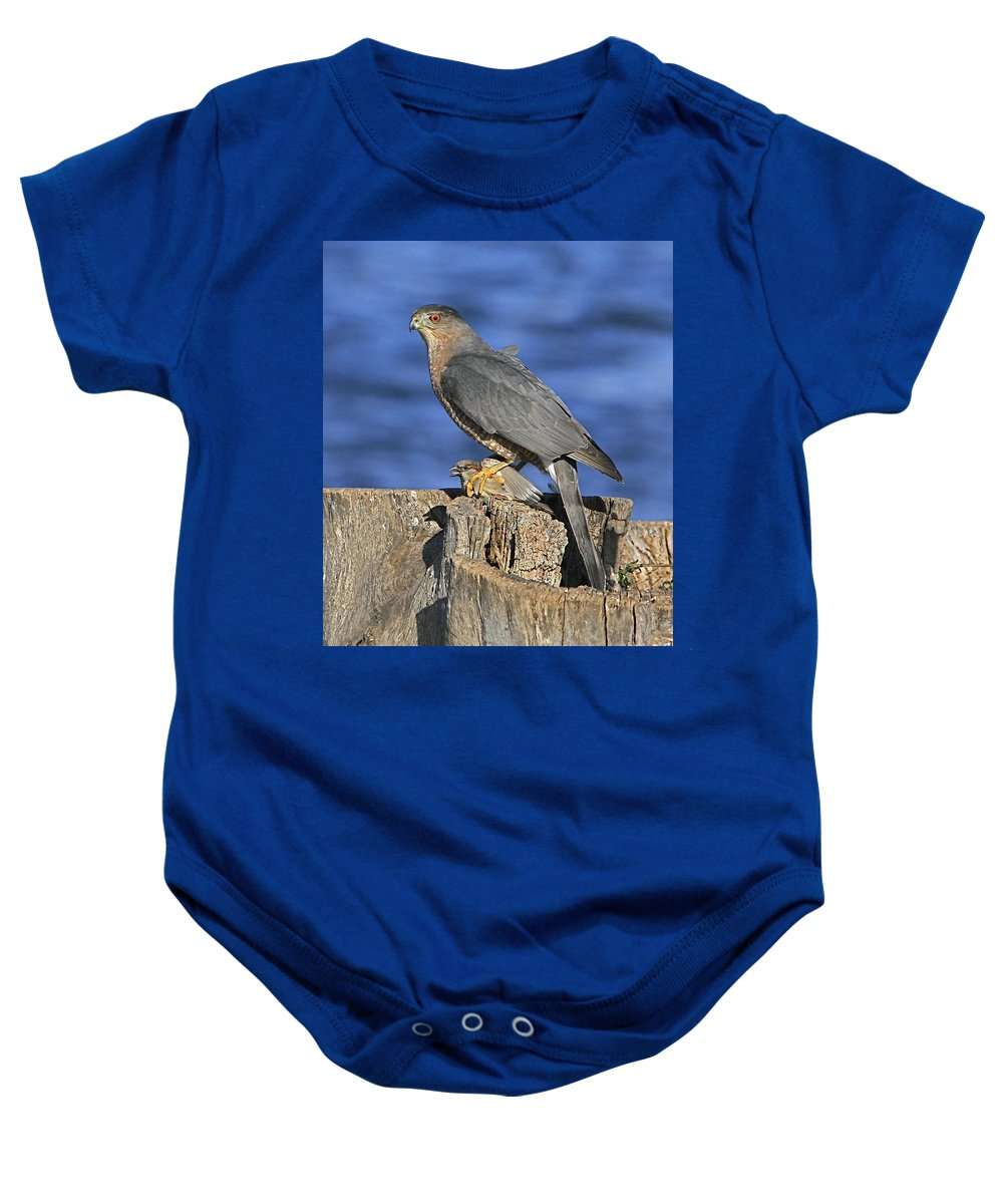 Cooper Baby Onesie featuring the photograph The Catch by Robert Pearson