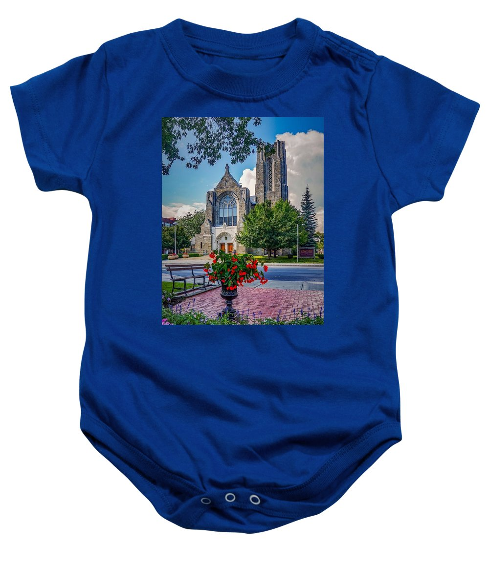 Baby Onesie featuring the photograph The Church In Summer by Kendall McKernon