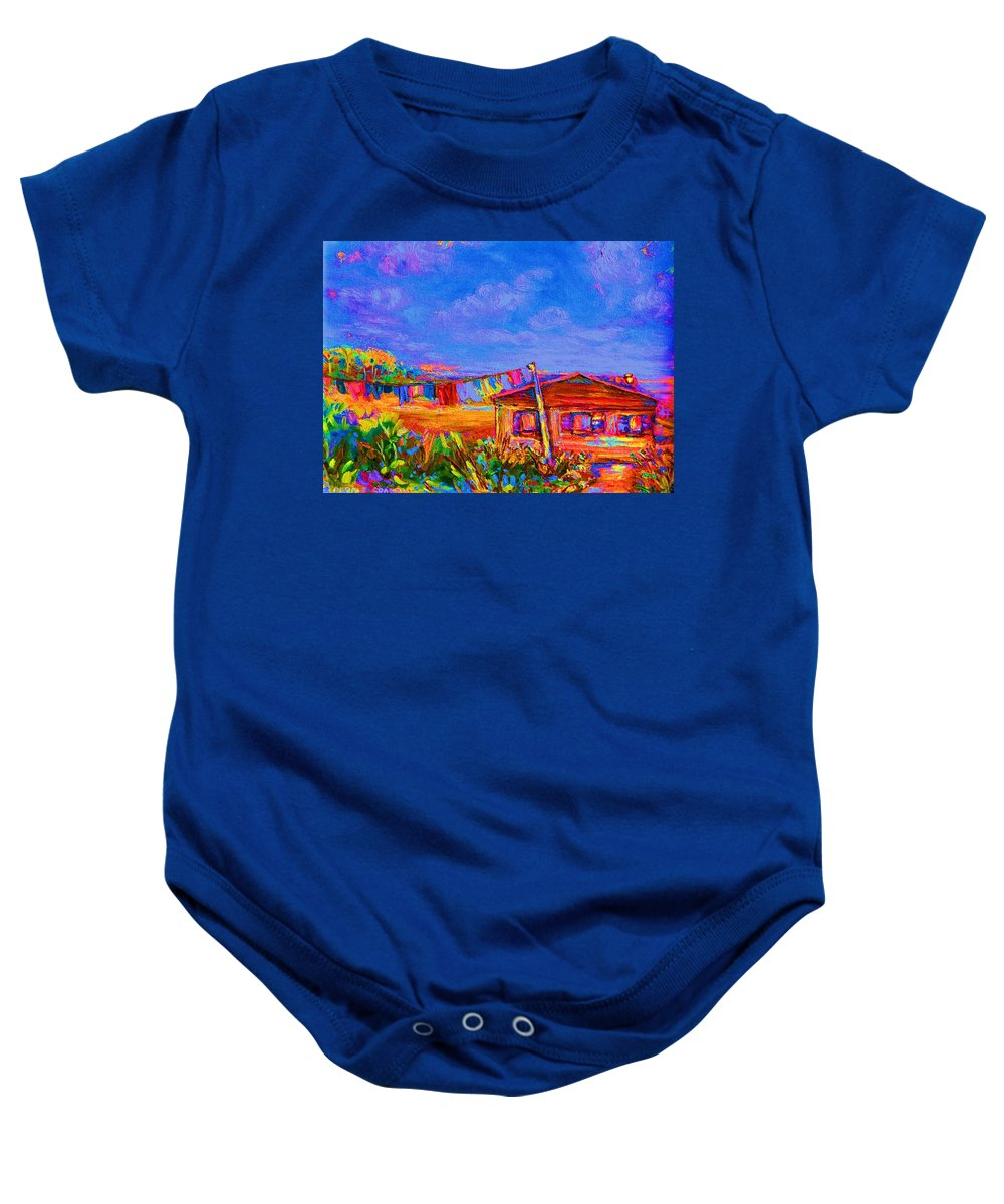 Clothesline Scenes Baby Onesie featuring the painting The Clothesline by Carole Spandau