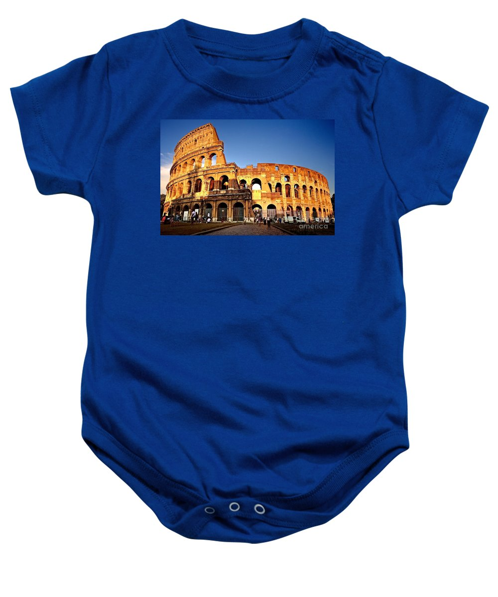 Colosseum Baby Onesie featuring the photograph The Colosseum by DJ MacIsaac