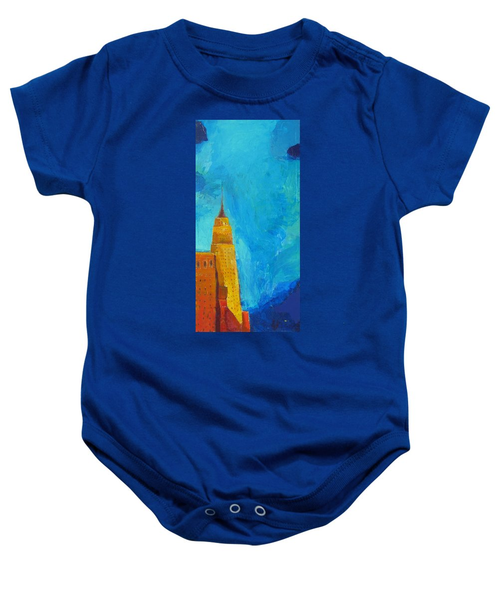 Abstract Cityscape Baby Onesie featuring the painting The Empire State by Habib Ayat