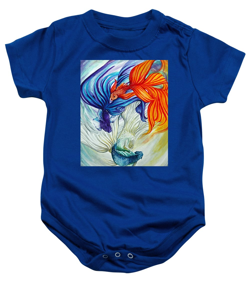 Mermaid Baby Onesie featuring the painting The Flow by Sherry Cummings