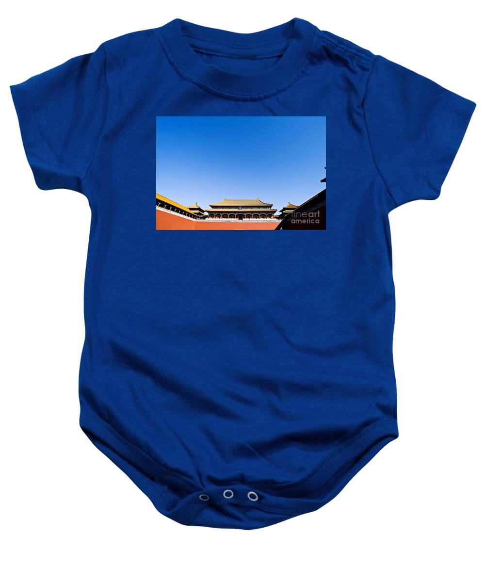 Architectural Art Baby Onesie featuring the photograph The Forbidden City by Ray Laskowitz - Printscapes