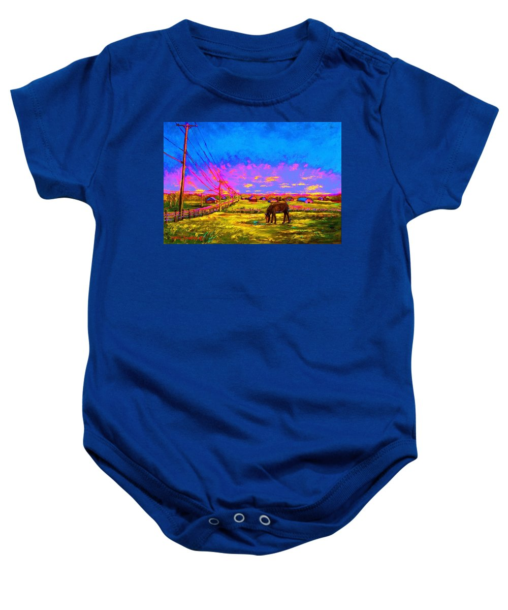 Western Art Baby Onesie featuring the painting The Golden Meadow by Carole Spandau