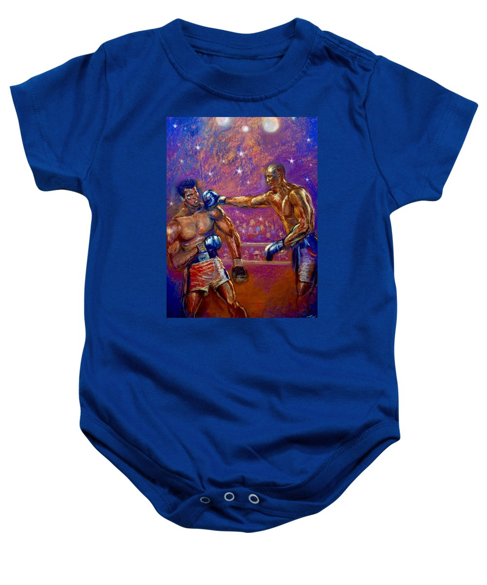 Boxing Baby Onesie featuring the pastel the Greatest Muhammed Ali vs Jack Johnson by Tommy Winn