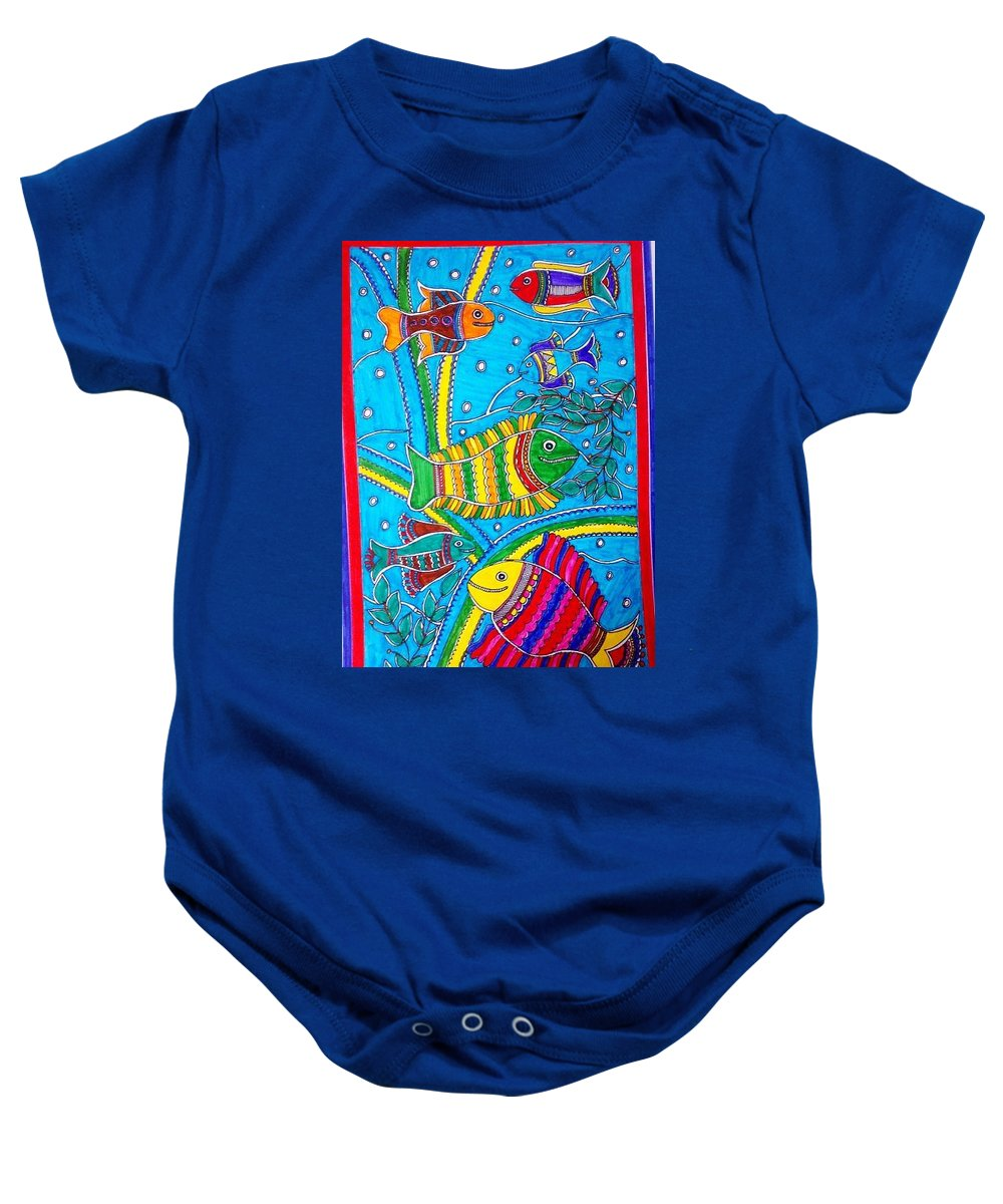 Madhubani Baby Onesie featuring the painting The Happy Fishes by Vertikaa Singh
