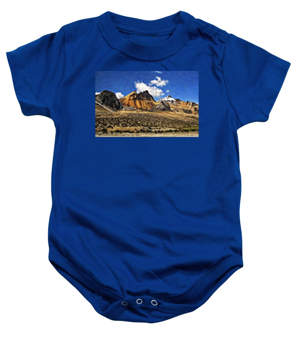 Landscape Baby Onesie featuring the photograph The High Andes Painted Version by Steve Harrington