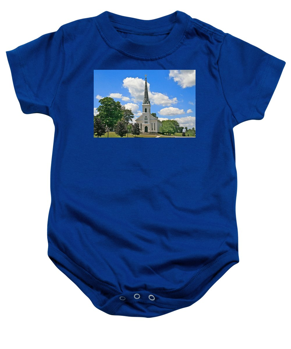 Usa Baby Onesie featuring the photograph The Little Country Church by Robert Pearson