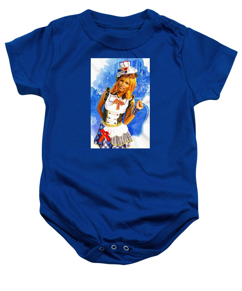 Fashion Baby Onesie featuring the photograph The Patriotic Fashion Girl by Ian Gledhill