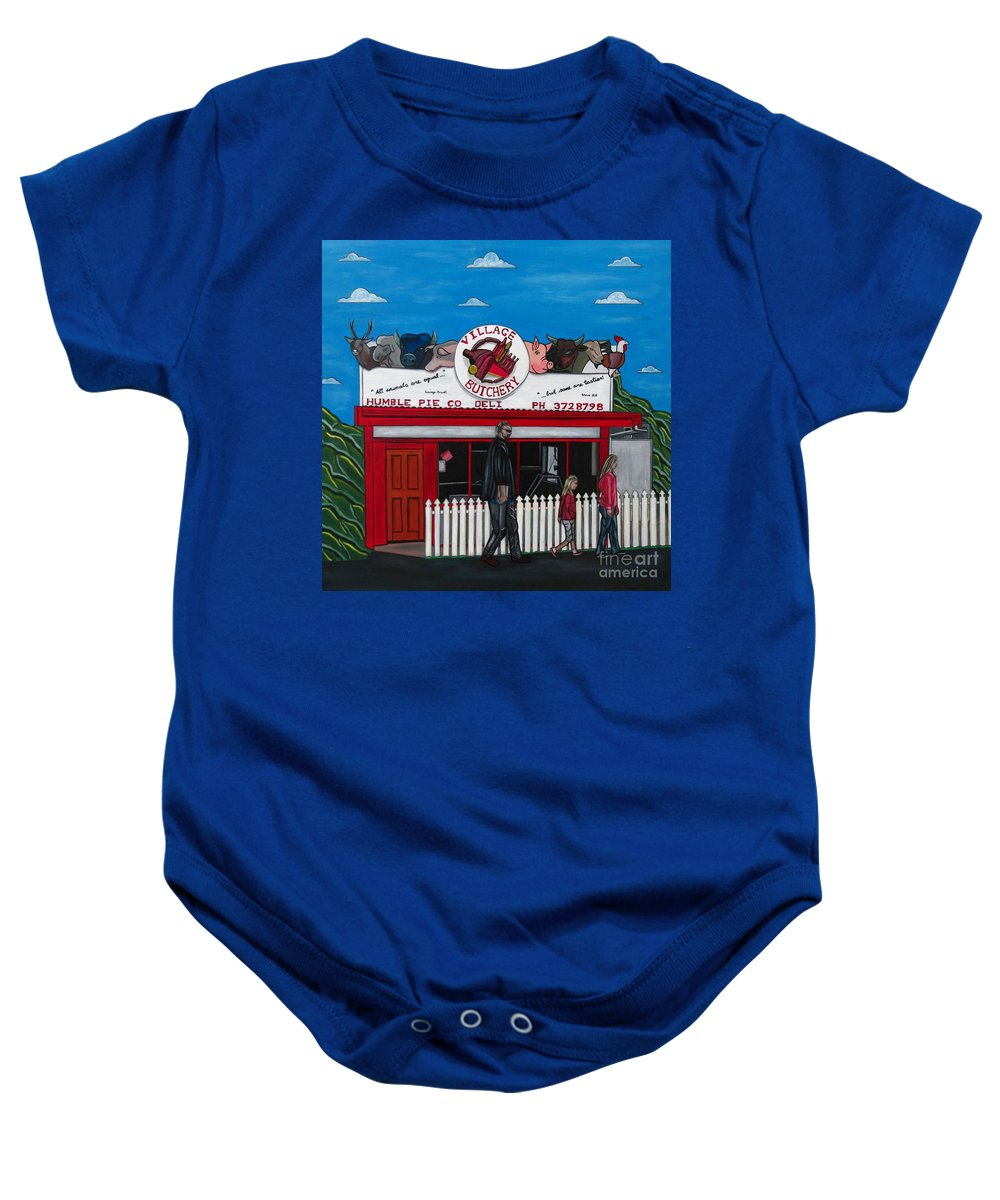 Buildings Baby Onesie featuring the painting The Village by Sandra Marie Adams