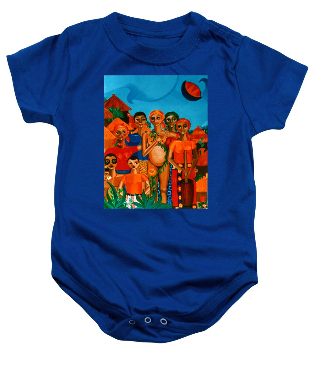 Pregnant Women Baby Onesie featuring the painting There Are Always Sunflowers For Those Waiting A New Life by Madalena Lobao-Tello