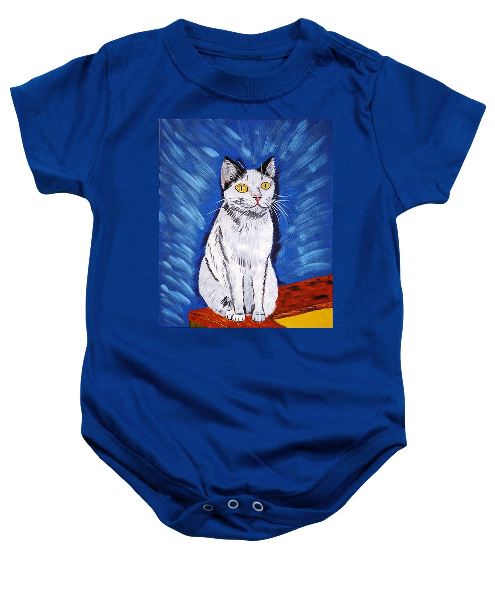 Cat Baby Onesie featuring the painting There Is A Bird by Valerie Ornstein