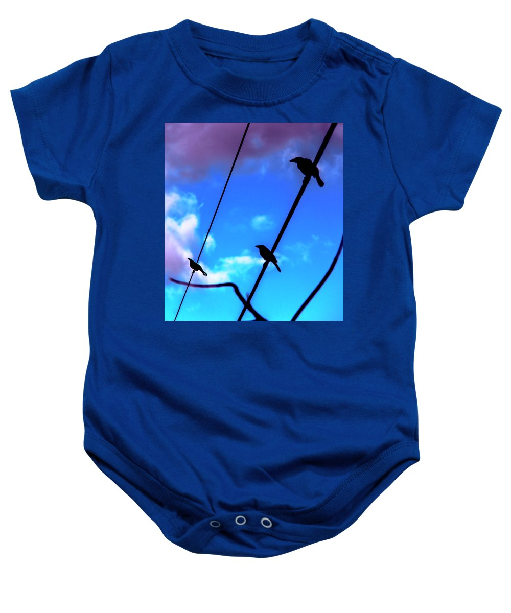 Three Baby Onesie featuring the photograph Three Birds by Michael Frizzell