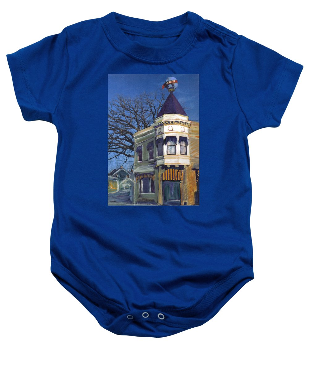 Miexed Media Baby Onesie featuring the mixed media Three Brothers by Anita Burgermeister