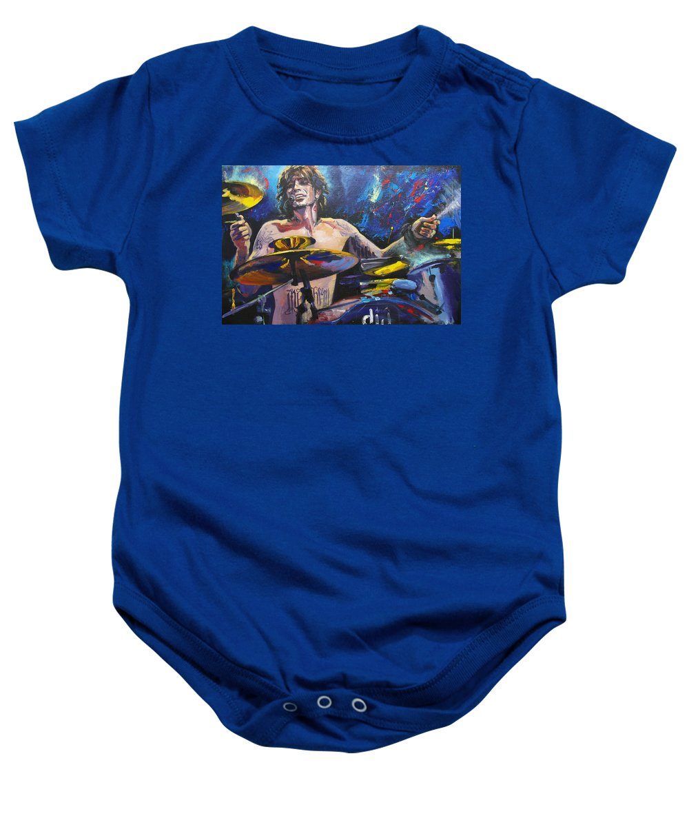 Tommy Lee Baby Onesie featuring the painting Tommy by Irina Sergeyeva