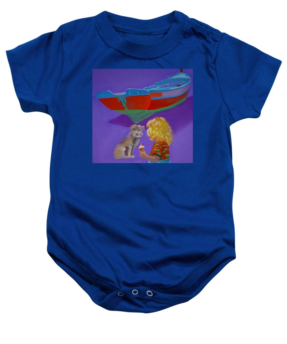Blonde Baby Onesie featuring the painting Toto by Charles Stuart