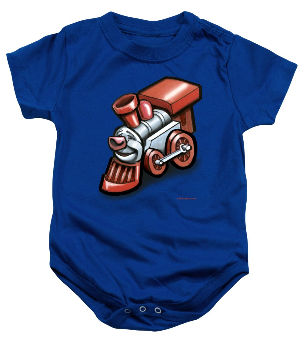 Train Baby Onesie featuring the digital art Toy Train by Kevin Middleton