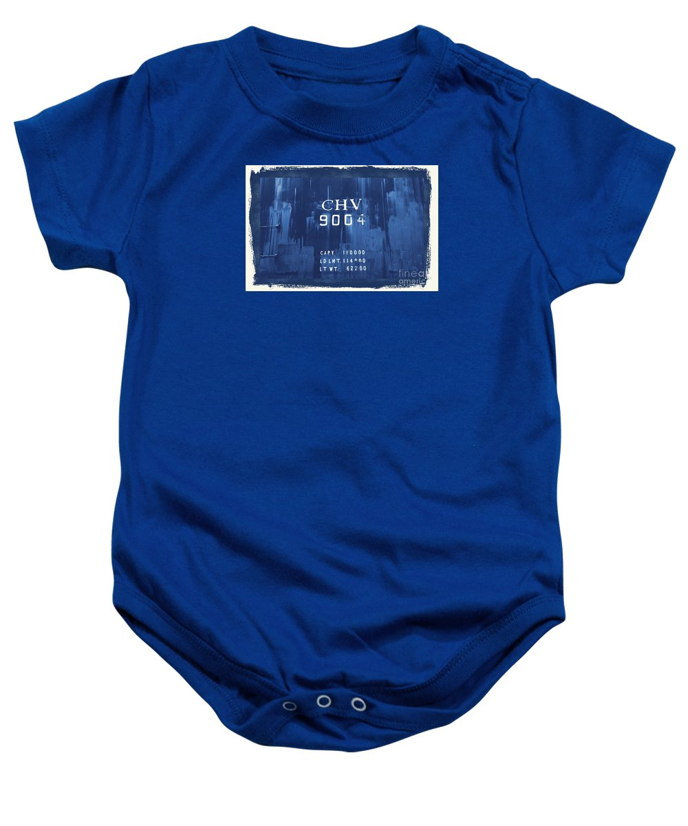 Train Baby Onesie featuring the photograph Trains 14 Cyanotype Border by Jay Mann