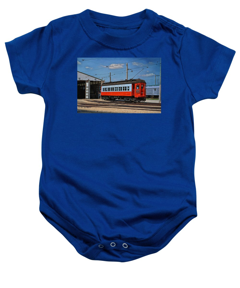 Passenger Baby Onesie featuring the mixed media Trains Chicago Aurora Elgin Trolley Car 409 by Thomas Woolworth
