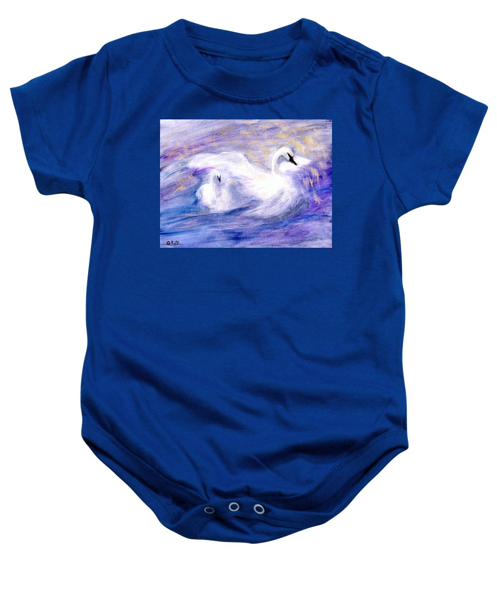 Birds Baby Onesie featuring the painting Transformation by Gail Kirtz
