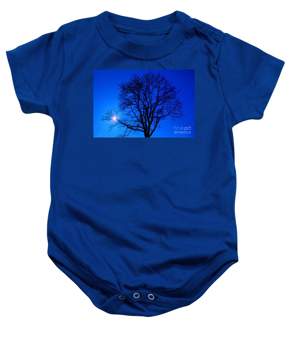 Tree Baby Onesie featuring the photograph Tree In Blue Sky by Silvia Ganora