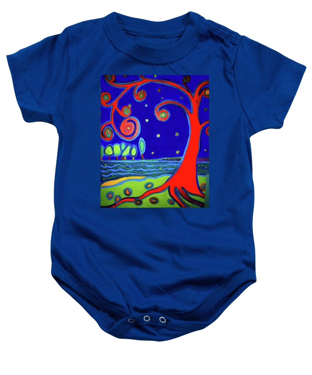 Manchester-by-the-sea Baby Onesie featuring the painting tree of life Manchester-by-the-sea by Debra Bretton Robinson