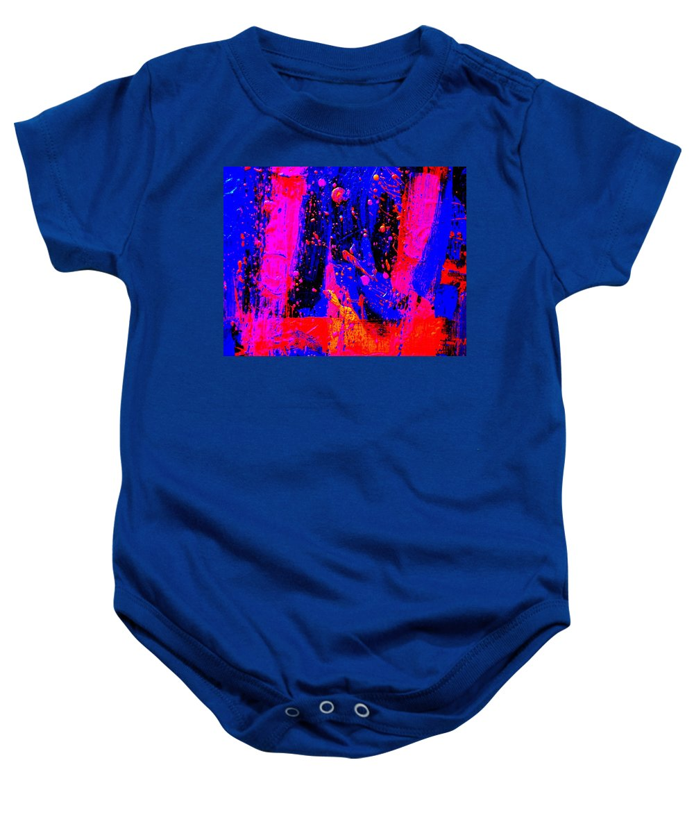 Abstract Baby Onesie featuring the painting Triptych 2 Cropped by John Nolan