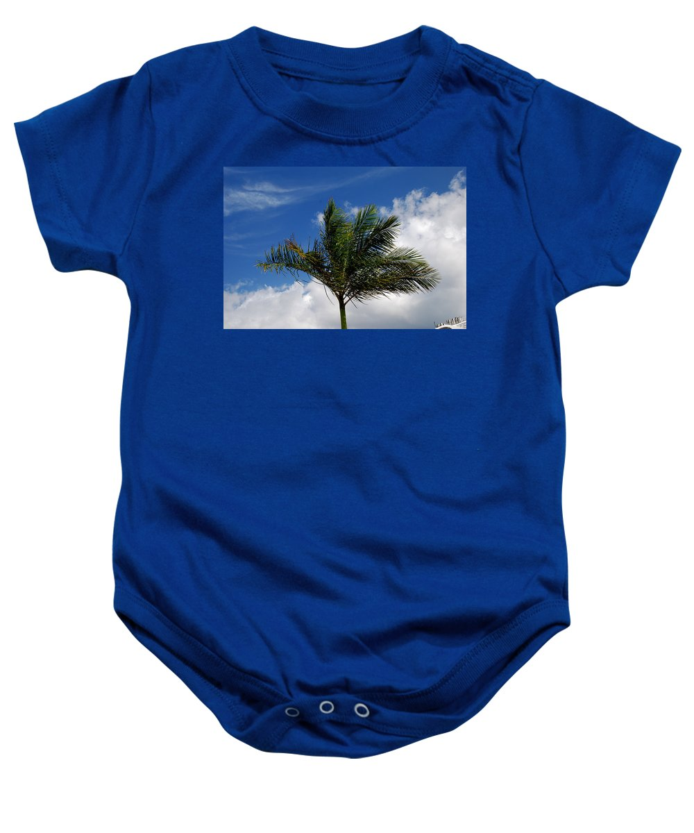 Palm Tree Baby Onesie featuring the photograph Tropical Breeze by Gary Wonning