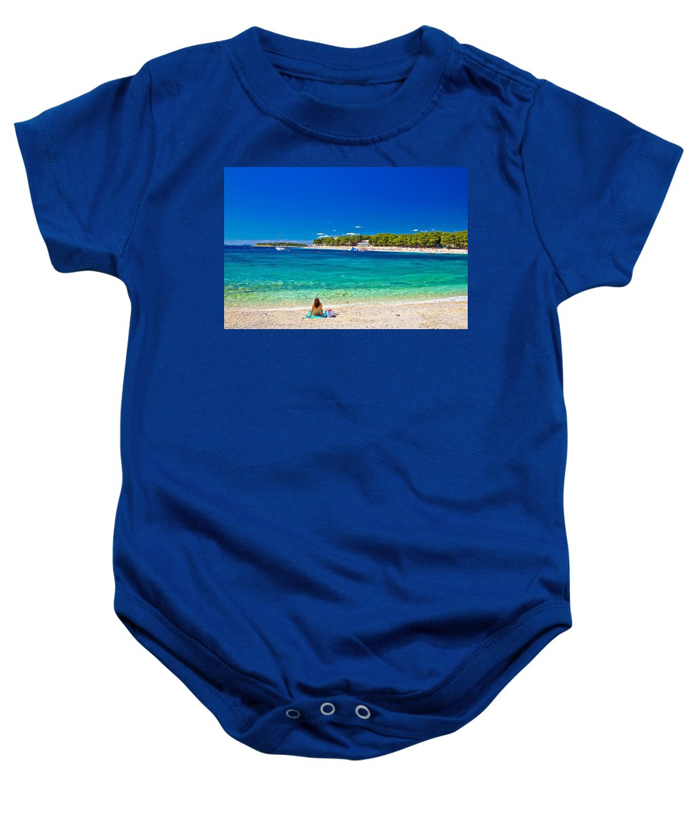 Panorama Baby Onesie featuring the photograph Turquoise Adriatic Beach In Primosten by Brch Photography