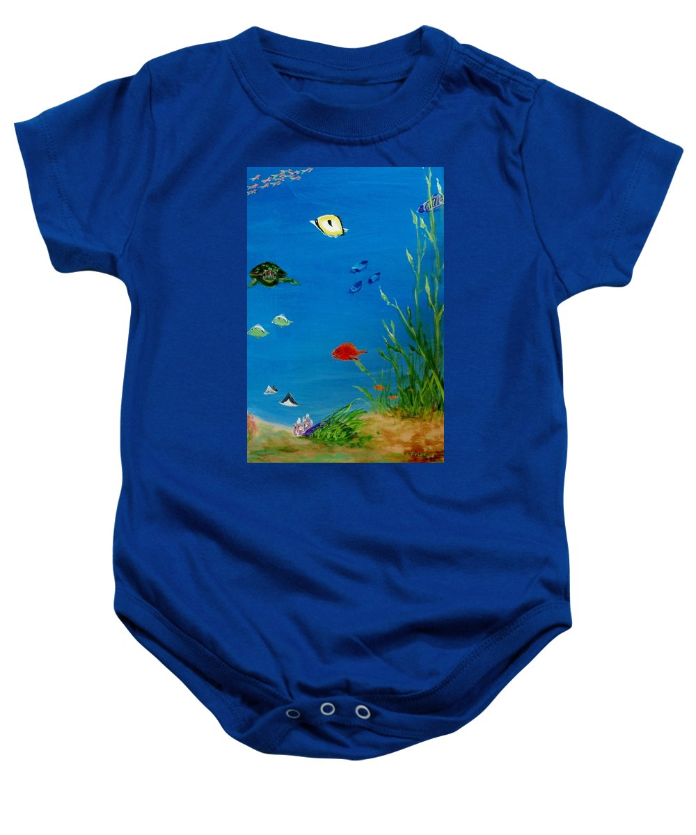 Water Baby Onesie featuring the painting Turtle And Friends by Jamie Frier