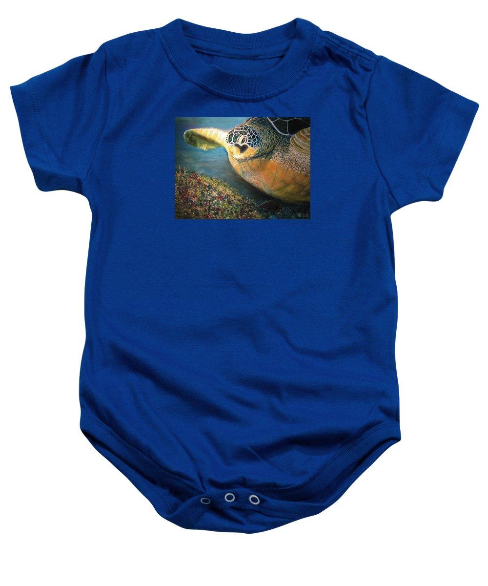 Karen Zuk Rosenblatt Art And Photography Baby Onesie featuring the painting Turtle Run by Karen Zuk Rosenblatt